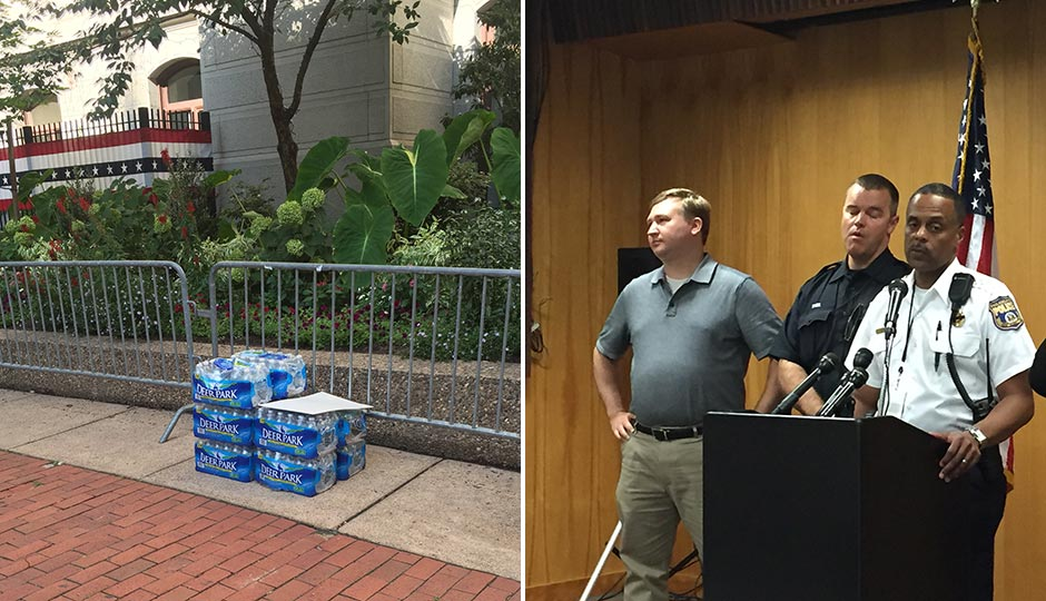 Water bottles at City Hall. Richard Ross.