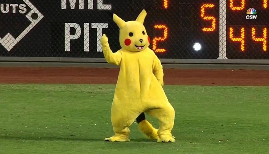 Pikachu on the field at Citizens Bank Park, flipping off fans