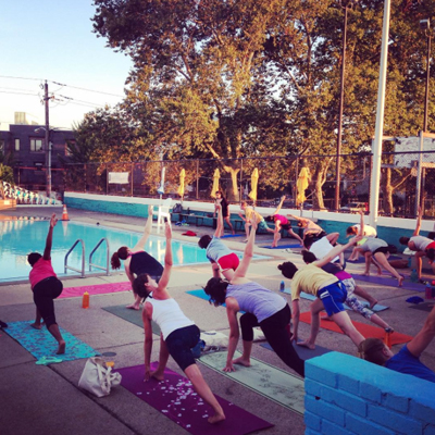 Poolside yoga at Francisville pop-up pool   Photo via Instagram.