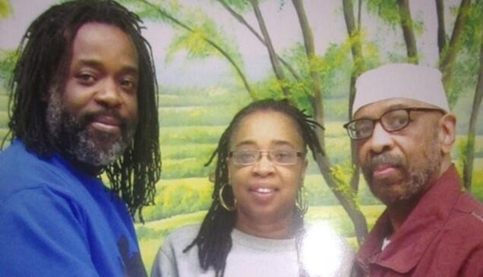 Russell Shoatz III and Theresa Shoatz celebrate with their father, convicted cop killer Russell Shoatz Jr.