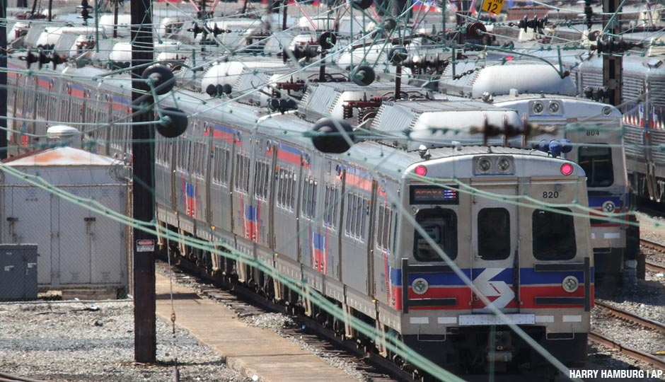 Some of the 120 Silverliner V railway cars taken out of service by SEPTA shown in the Powelton storage yard in West Philadelphia.