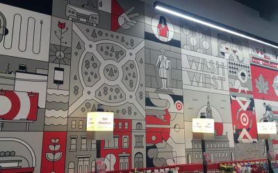 A mural inside Target on Chestnut Street shows Philly landmarks in Target's design style