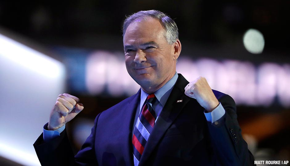 Tim Kaine speaking at the 2016 DNC