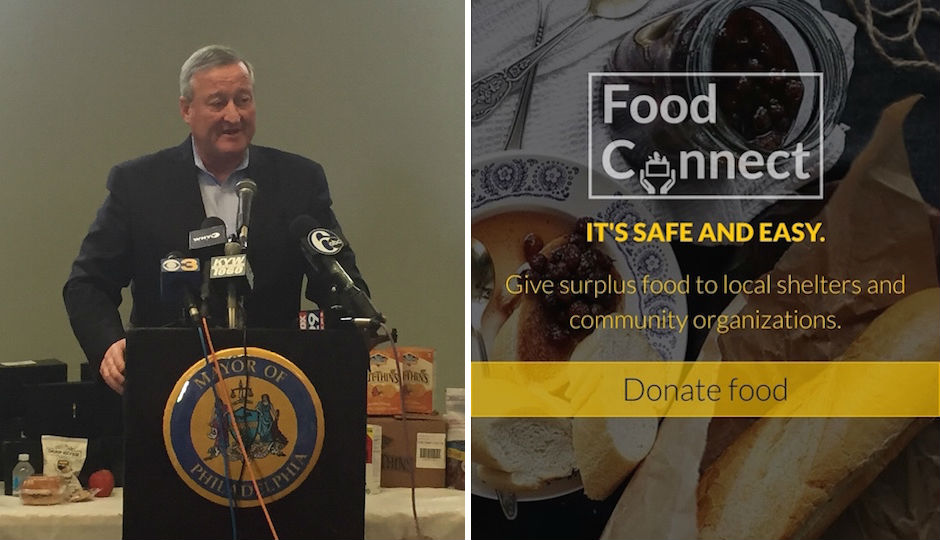 Mayor Jim Kenney and a screenshot of what the new Food Connect app looks like.