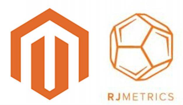 The logos of Magento and RJMetrics.