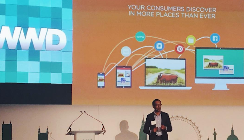 Apu Gupta, CEO of Curalate speaks at a conference in London. Photo via Instagram.