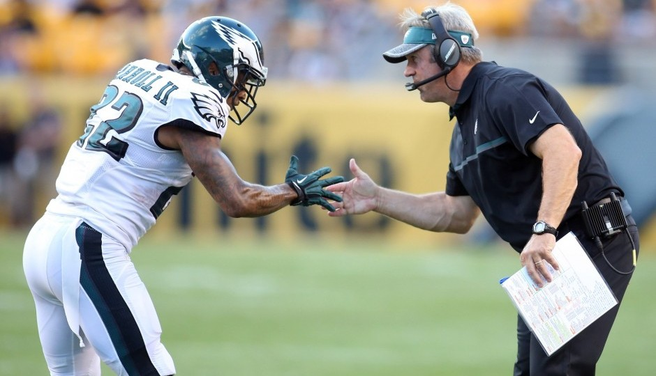 Nolan Carroll and Doug Pederson. (USA Today Sports)