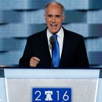 Sen, Bob Casey, D-Penn., speaks during the first day of the Democratic National Convention in Philadelphia, Monday, July 25, 2016.