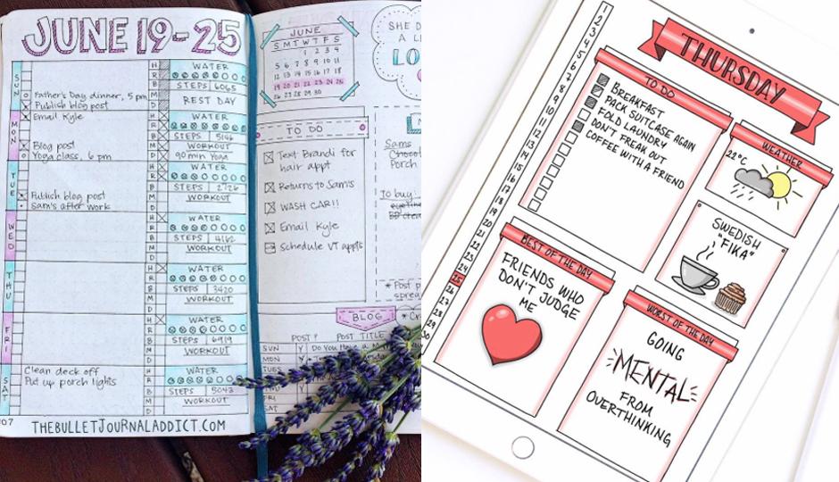 Bullet journals | Photos via @thebulletjournaladdict (left) @annaslettering