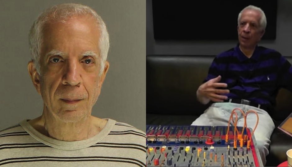 Left: Charles Cohen in a mugshot photo released by the Montgomery County District Attorney's office. Right: Cohen at WXPN studios during a 2015 interview. (Photo via YouTube)