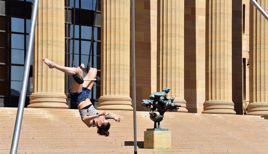 Nicole Burgio performs on the trapeze