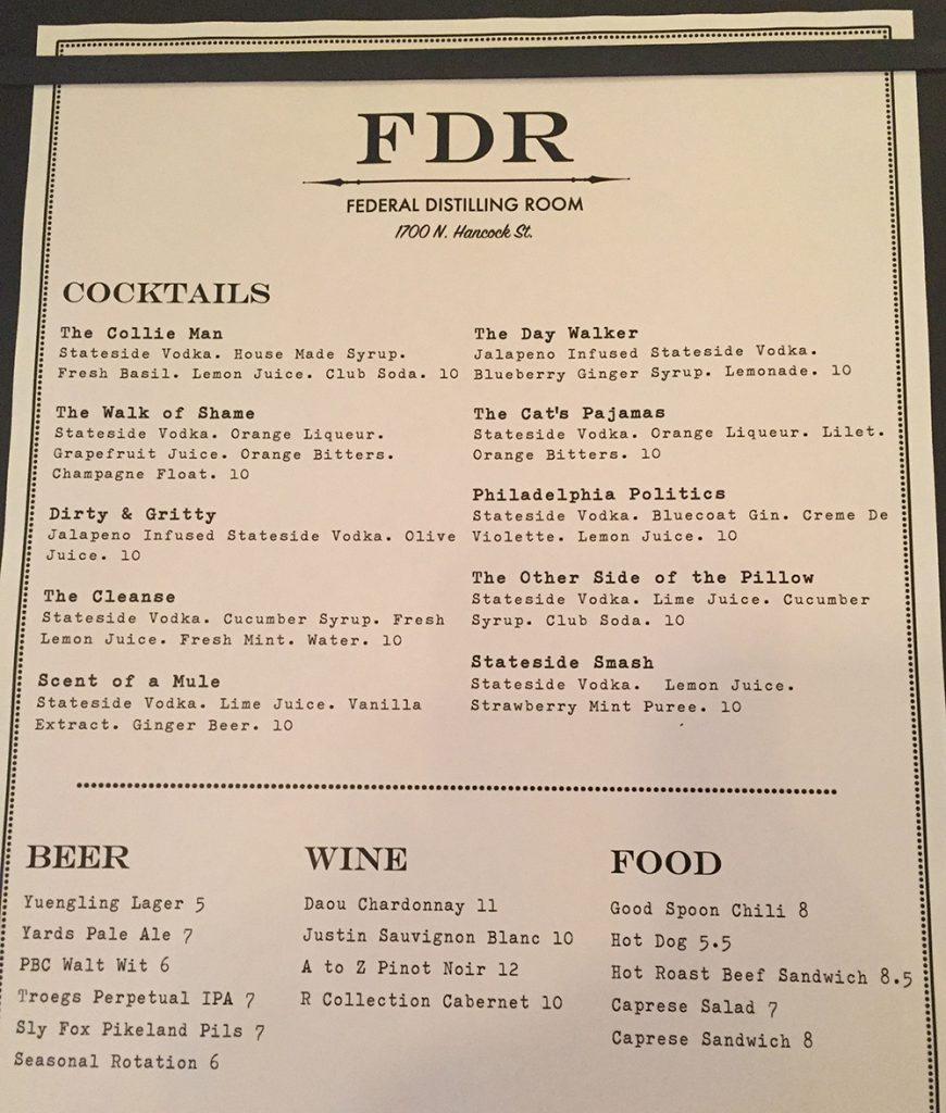 federal distilling menu