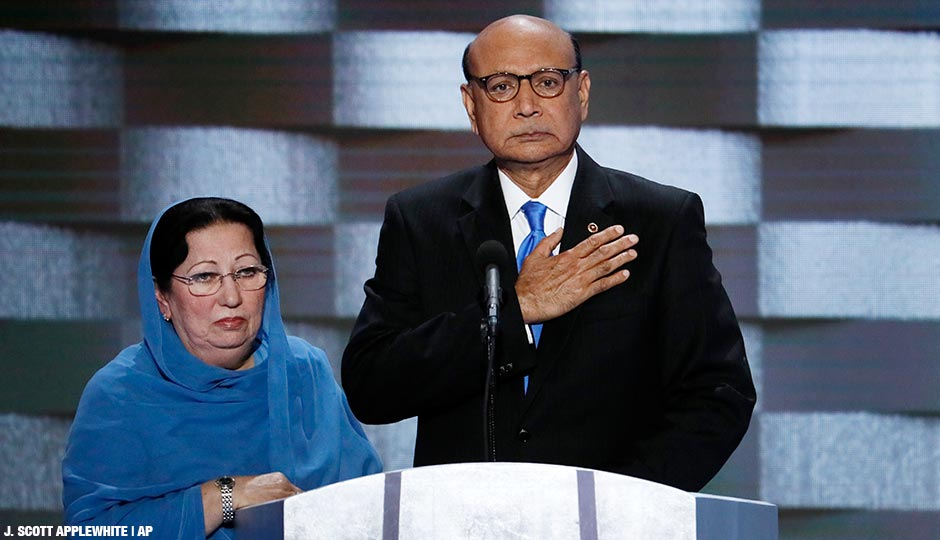 Khizr Khan, father of fallen US Army Capt. Humayun S. M. Khan and his wife Ghazala speak during the final day of the Democratic National Convention in Philadelphia , Thursday, July 28, 2016.