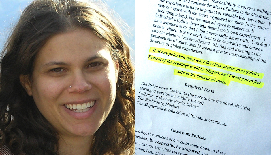 Left: Kutztown University Director of Women's and Gender Studies Colleen Lutz Clemens. Right: The trigger warning that appears on her new syllabus. (Highlighting added.)