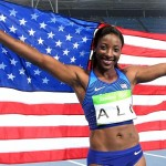 Nia Ali after placing second in the women's 100m hurdles final in the Rio 2016 Summer Olympic Games at Estadio Olimpico Joao Havelange.