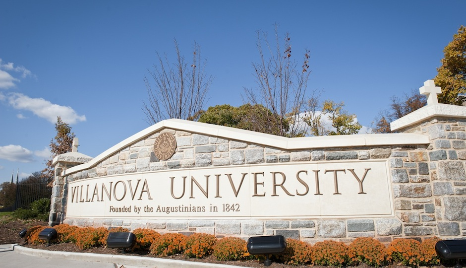 University entrance at the corner of Ithan and Lancaster Avenues.