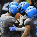 Philadelphia Soul players celebrate a touchdown at a recent game. (Photo by Todd Bauders, Contrast Photography)