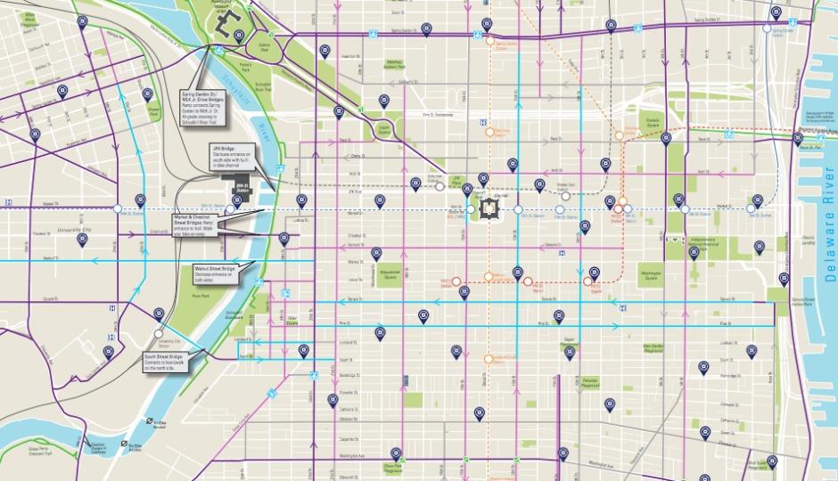 Heres A BrandNew Map Of All Of Phillys Bike Lanes - Philadelphia map