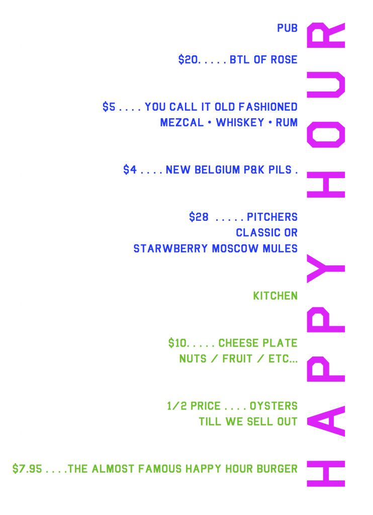 pub and kitchen happy hour menu