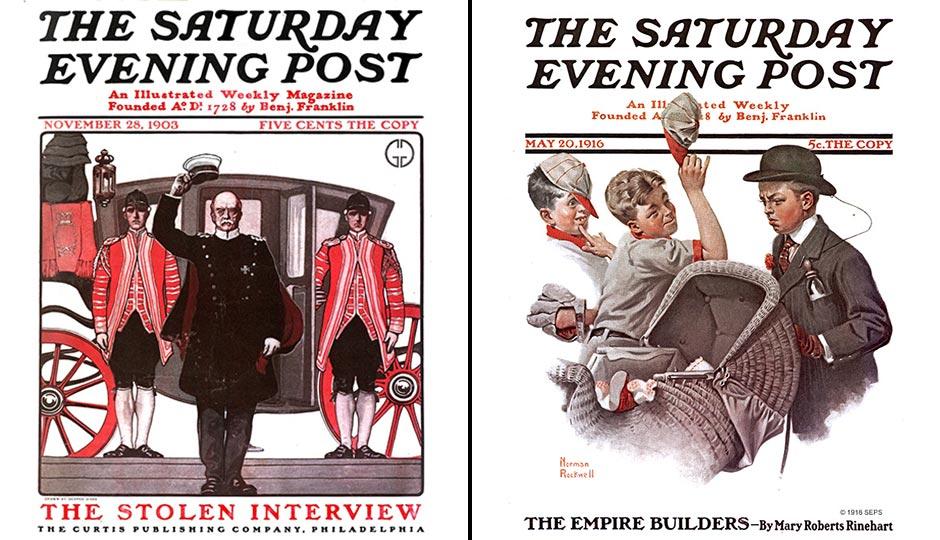 Saturday Evening Post covers, public domain.