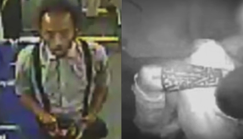 Left: The suspect in the SEPTA bus driver attack. Right: Detail of a tattoo on the suspect's left arm.