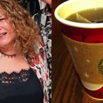 Left: Marilou Regan (Photo by HughE Dillon). Right: Starbucks tea cup. (Photo by Flickr user Patricia Bullack).