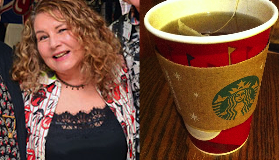 Left: Marilou Regan (Photo by HughE Dillon). Right: Starbucks tea cup. (Photo by Flickr user Patricia Bullack).