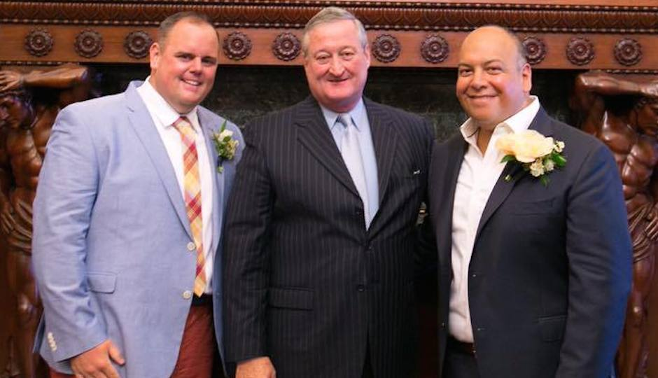 Fran Hogan and Jimmy Contreras with Philadelphia Mayor Jim Kenney, who married the couple at City Hall in July.