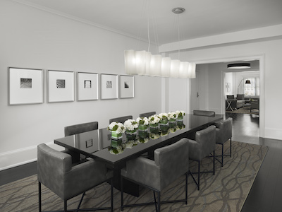 The dining room in one of the remodeled penthouse apartments at AKA Rittenhouse. Photo: AKA