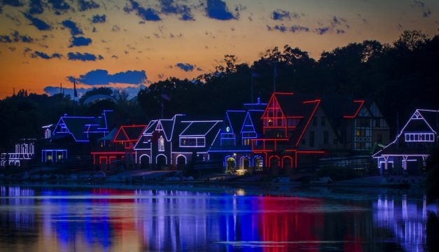 The Boathouse Row lights were a patriotic red, white and blue during the DNC. Photo by R. Kennedy for Visit Philadelphia