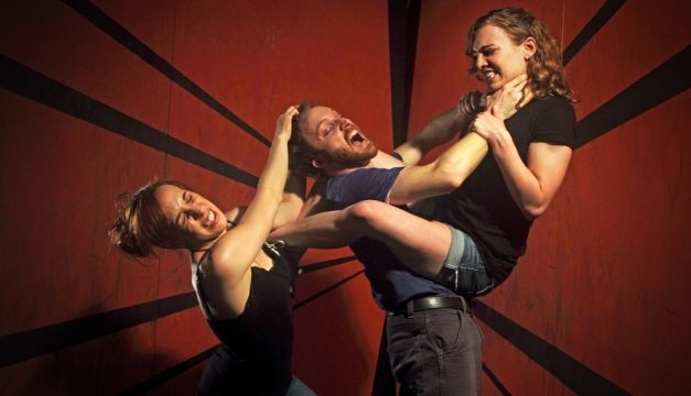 Colleen Hughes, Kyle Yackoski and Leah Holleran in Antihero. Photo by Lewis Harder