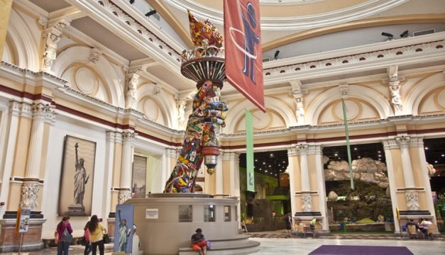 The Please Touch Museum features a life-sized 40-foot replica of the Statue of Liberty's arm and torch, made from toys, games and other found objects gathered and assembled by local artist Leo Sewell. Photo by M. Edlow for Visit Philadelphia