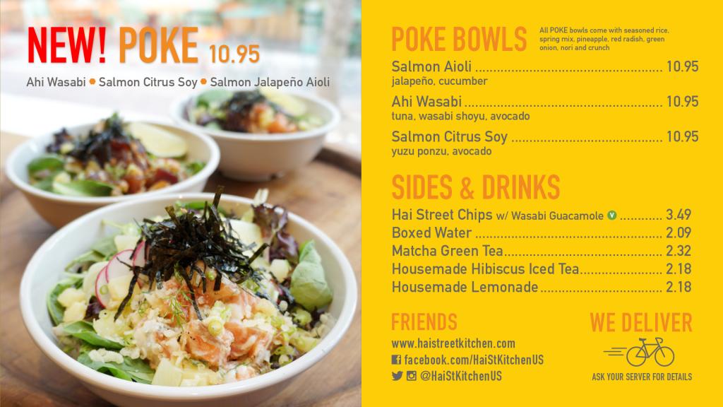 Poke menu at Hai Street Kitchen