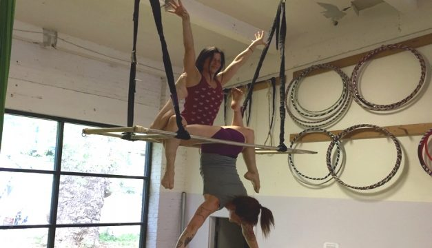 Watch Shannon Sexton and Kendra Greaves perform on aerial ladder at Feastival.