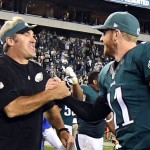 Sep 25, 2016; Philadelphia, PA, USA; Philadelphia Eagles quarterback Carson Wentz (11) and Philadelphia Eagles head coach Doug Pederson (left) react after defeating the Pittsburgh Steelers 34-3 at Lincoln Financial Field. Mandatory Credit: James Lang-USA TODAY Sports