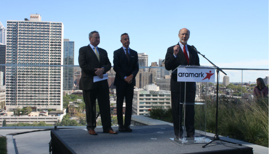 From Left, Mayor Jim Kenney, Aramark CEO Eric Foss, Governor Tom Wolf | Photo by Jared Brey