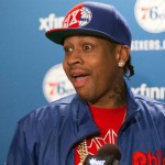 Allen Iverson talks about his selection for enshrinement in the Naismith Memorial Basketball Hall of Fame as a member of the Class of 2016 during a press conference at Wells Fargo Center in April. Bill Streicher-USA TODAY Sports