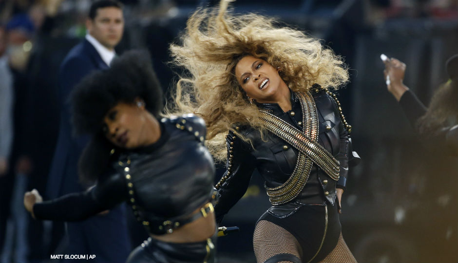 Beyonce performs during halftime of the NFL Super Bowl 50 in Santa Clara, California, on Feb. 7, 2016