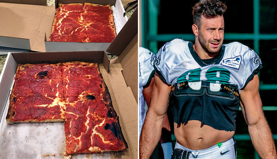 Photos of Santucci's pizza and Eagles defensive player Connor Barwin