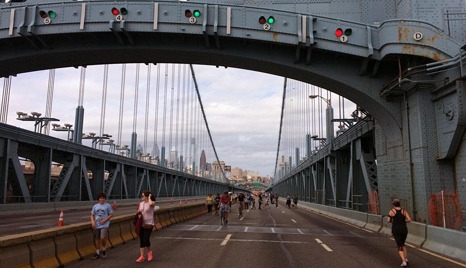 Ben Franklin Bridge - no cars, all walkers