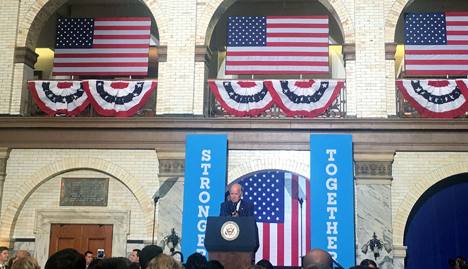 Joe Biden speaks in Drexel's grand court