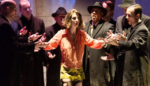 Kiera Duffy and Ensemble in Breaking the Waves at Opera Philadelphia. (Photo by Dominic M. Mercier)