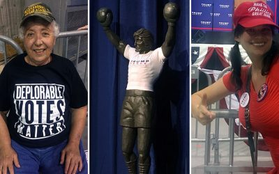 """A woman in a """"Deplorable Voters Matter"""" t-shirt, a Rocky statue with a Trump/Pence shirt, and Emily Youcis (Pistachio Girl) decked out in Trump gear"""