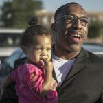 Anthony Wright with his granddaughter after his release from prison in August. Photo by Kevin Monko, courtesy The Innocence Project