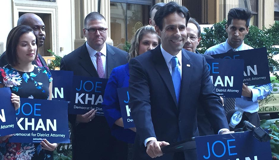 Joe Khan announcing his intention to run against District Attorney Seth Williams in the May 2017 Democratic primary. Photo by Morgan Jenkins