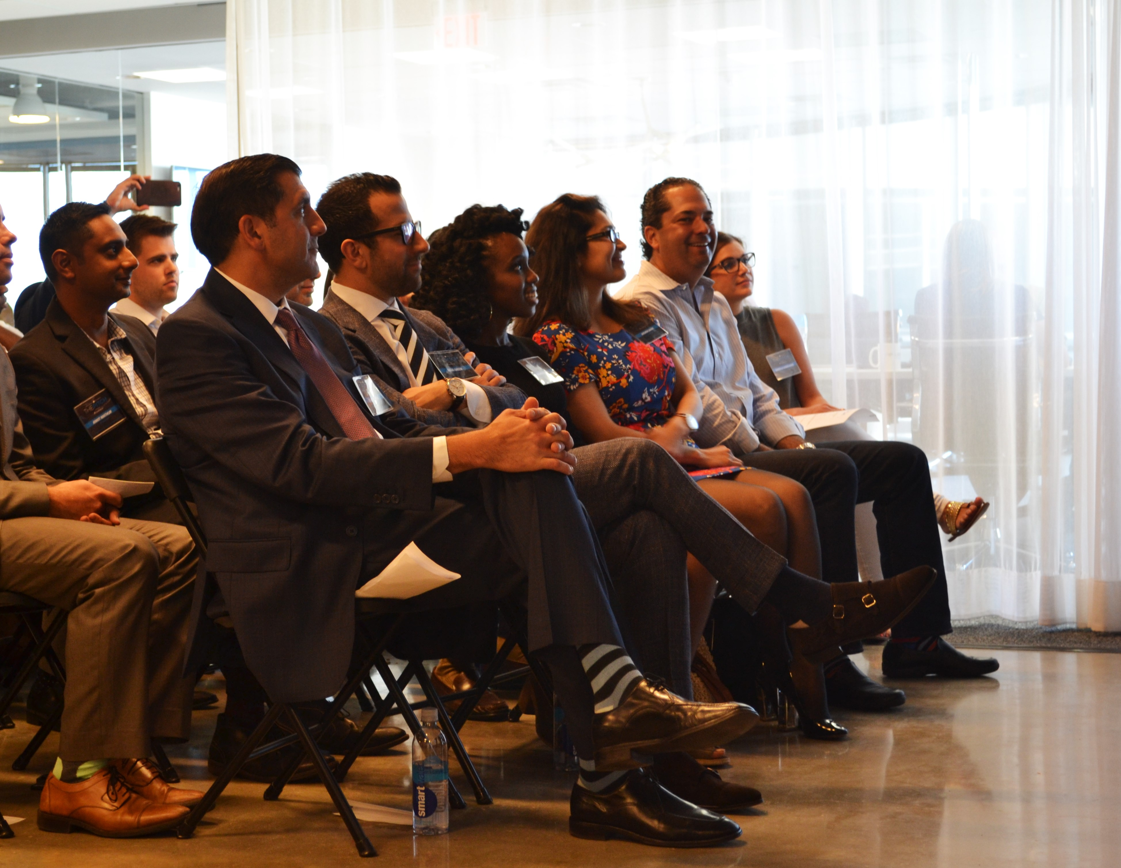 The Pitch judges in the front row. From left to right: Dan Tropeano, Douglas Green, Fabiola Cineas, Archna Sahay and Wayne Kimmel.