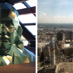 Max Headroom-style Ben Franklin sculpture at the top of the Liberty Observation Deck; the view from the top