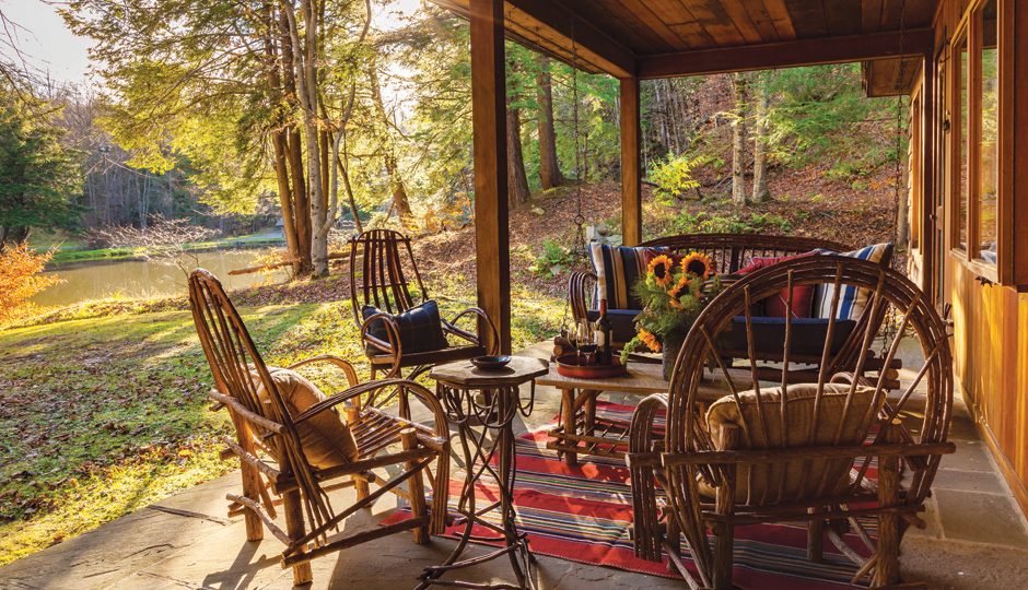 The porch at John's Cabin at Glendorn | Photo by Sargent Photography