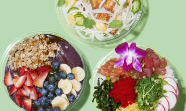 From top: Honeygrow's BBQ stir-fry, Poke Bowl's Poke Bowl, and Bryn and Dane's Acai Bowl | Photo by Davide Luciano, styling by Claudia Ficca