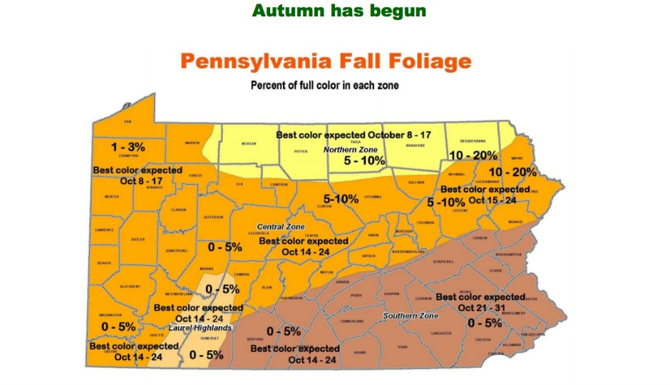 Here S A Map Of When Pennsylvania S Leaves Will Be The Most Colorful
